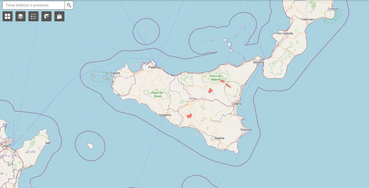 Nuova Mappa Zone Rosse in Sicilia. Sono solo 4.