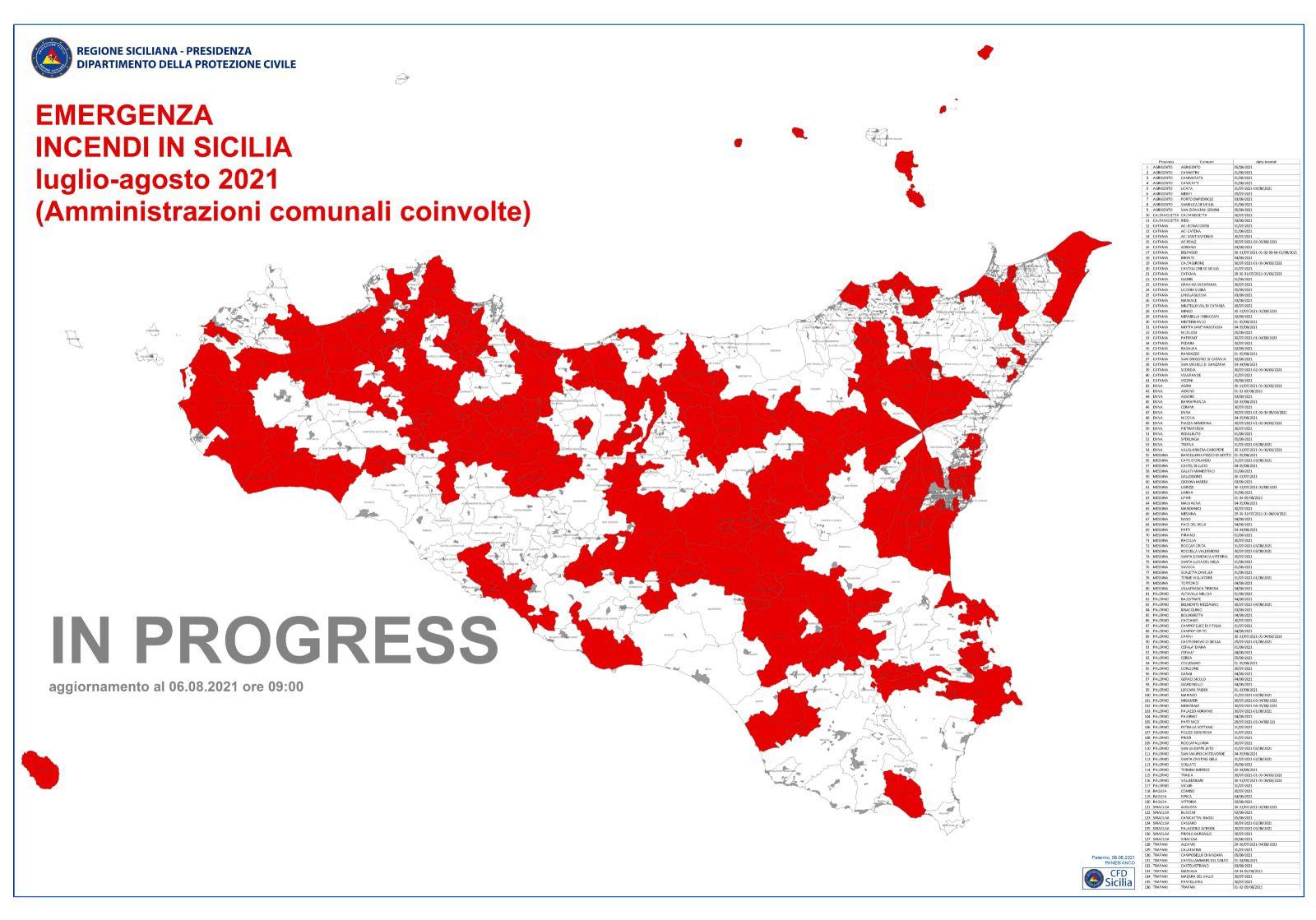 Emergenza in Sicilia: proroga permanenza squadre di volontari nazionali fino al 17 agosto. Aggiornamento Incendi