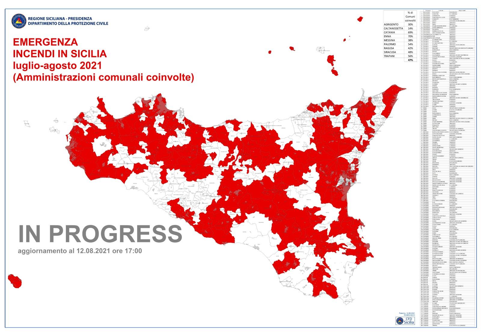 """Emergenza incendi in Sicilia, la mappa aggiornata al 12 agosto 2021. Sino a venerdì vige lo """"Stato di PREALLERTA e di ATTENZIONE"""""""