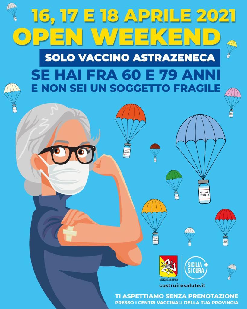 """Domani al via """"Open weekend"""",  tre giorni di vaccinazioni presso gli Hub siciliani senza l'obbligo della prenotazione"""