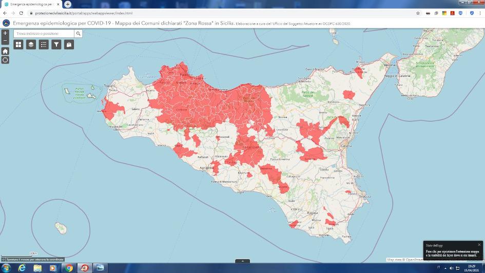 """Covid in Sicilia, ecco la mappa dei comuni in """"zona rossa"""" pubblicata dalla Protezione Civile Siciliana"""